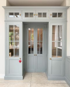 Glazed walk in pantry in solid wood and painted